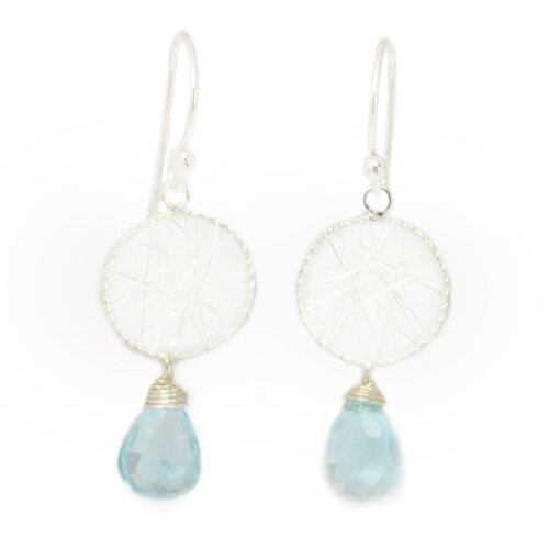 The Khun Boom Artisan Beautys Web Blue Topaz Chandelier Earrings