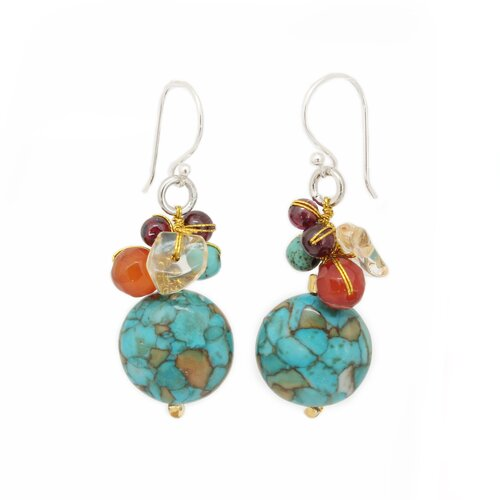 Novica The Nareerat Artisan Carnelian and Garnet Green Earth Cluster Earrings
