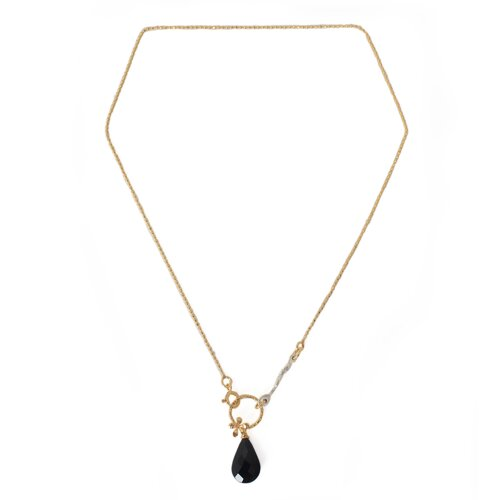 The Khun Boom Artisan Gold Plated Onyx Tulip Mystique Flower Necklace