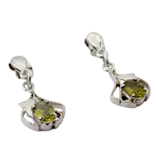 Novica The Parul Artisan Peridot Romantic Flower Earrings