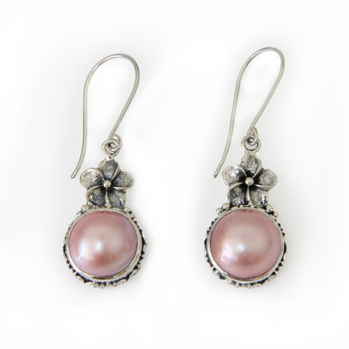 The Buana Artisan Cultured Pearl Pink Frangipani Flower Earrings
