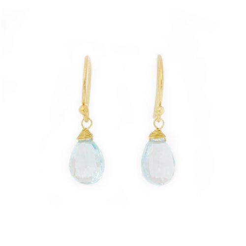 The Khun Boom Artisan Sublime Elegance Vermeil Blue Topaz Dangle Earrings