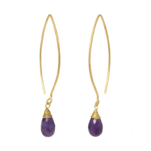 The Khun Boom Artisan Breath of Love Vermeil Amethyst Dangle Earrings