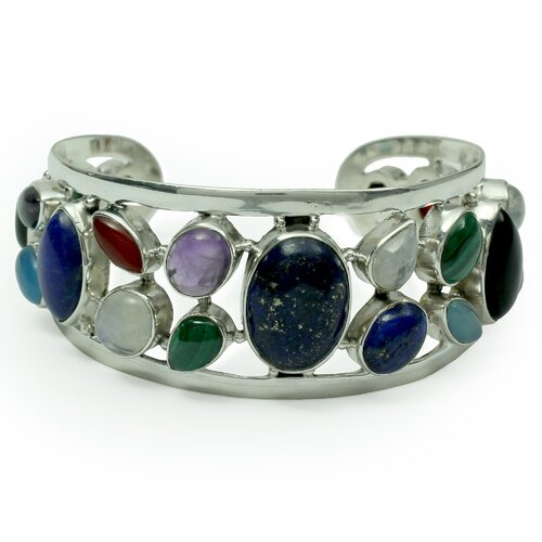 Novica The Neeru Goel Artisan Colors of Life Lapis Lazuli and Cultured Pearl Cuff Bracelet
