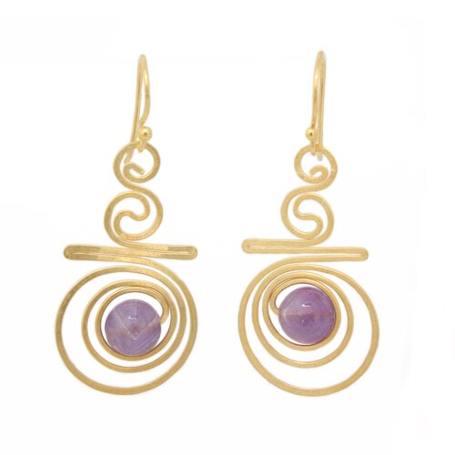 The Khun Boom Artisan Follow The Dream Amethyst Dangle Earrings