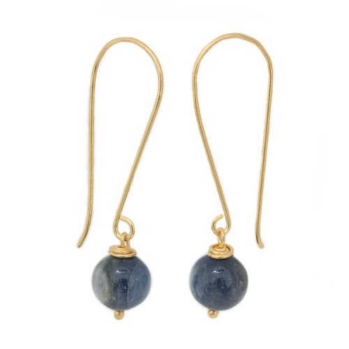The Khun Boom Artisan Songkran Moon Vermeil Kyanite Dangle Earrings