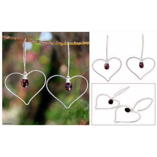 The Khun Boom Artisan Web of Love Garnet Heart Earrings