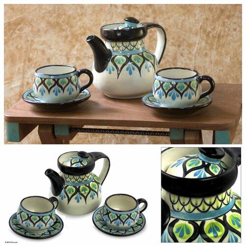 Novica The Roberto Perez 5 Piece Ceramic Tea Set