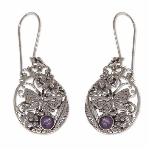 The Buana Amethyst Flower Earrings
