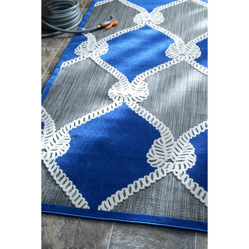 Nautical Ropes Machine Made Adrian Blue Outdoor Area Rug