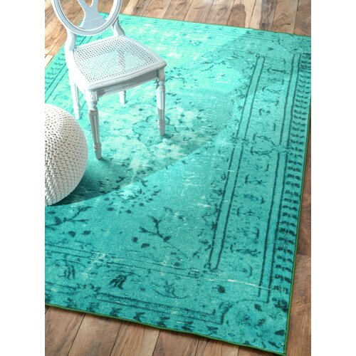 Nuloom Remade Distressed Overdyed Turquoise Area Rug: NuLOOM Remade Overdyed Turquoise Chroma Overdyed Style Rug