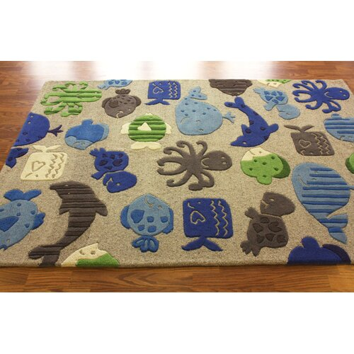 nuLOOM KinderLOOM Ocean World Grey Kids Rug