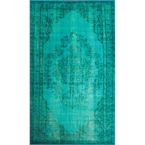 Turquoise Area Rug 8x10: NuLOOM Remade Distressed Overdyed Turquoise Area Rug