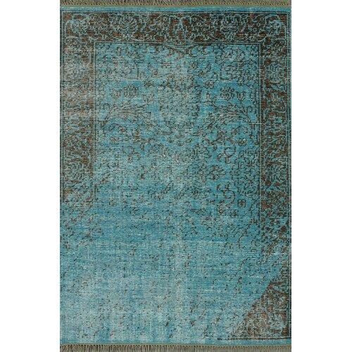 Ayers Turquoise Washed Damask Fringe Rug