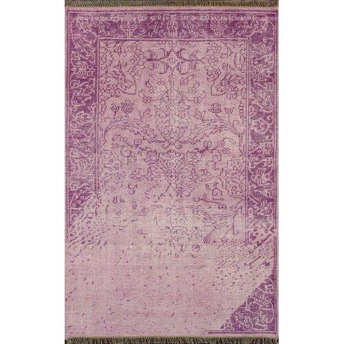 Ayers Purple Washed Damask Fringe Rug