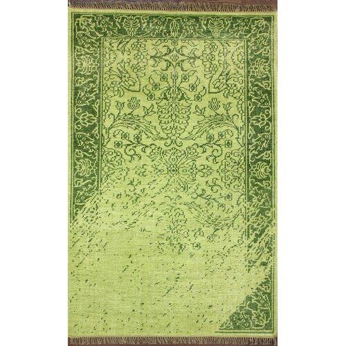 Ayers Green Washed Damask Fringe Rug