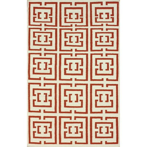nuLOOM Flatweave Red Locking Squares Rug
