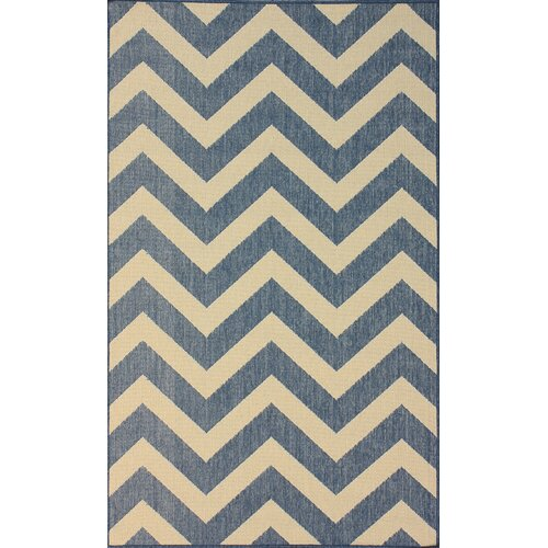 Villa Blue Chevron Indoor Outdoor Area Rug
