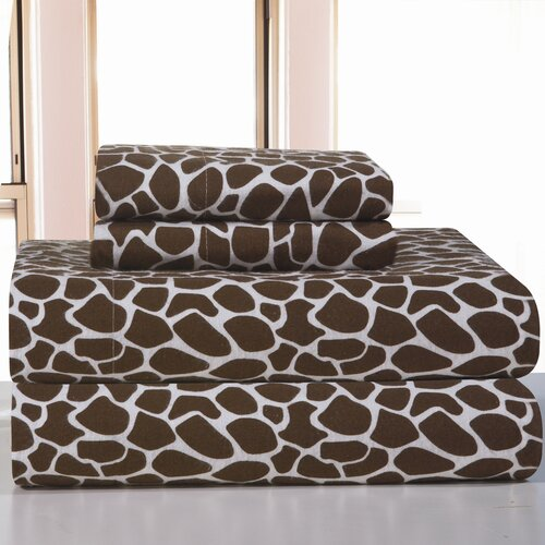 Pointehaven Heavy Weight Giraffe Flannel Sheet Set