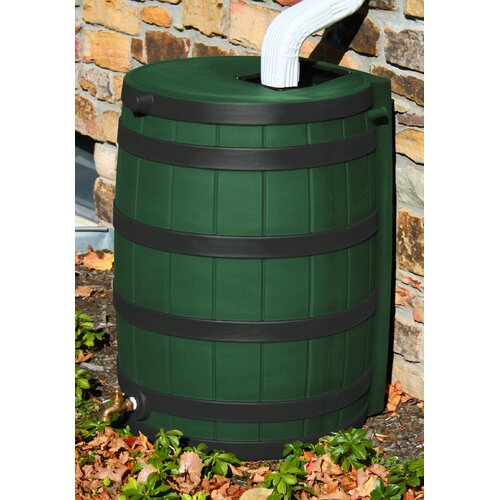 Good Ideas Rain Wizard 50 Gallon Rain Barrel with Darkened Ribs