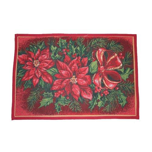 Violet Linen Seasonal Poinsettia Design Novelty Rug
