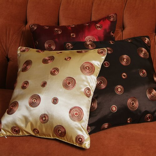 Violet Linen Silky Circle Design Cushion Cover