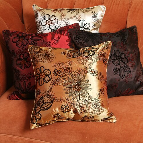 Violet Linen Silky Bloom Design Cushion Cover