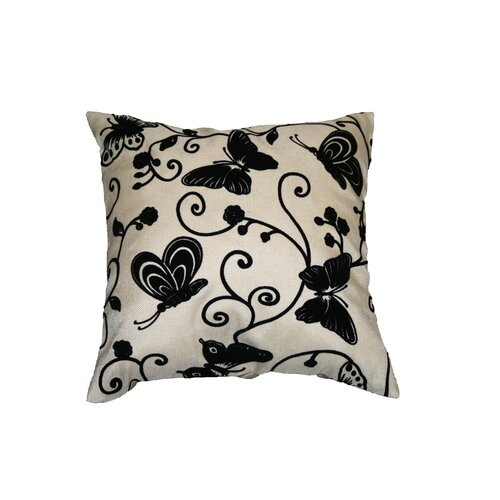 Violet Linen Tivoli Butterfly Flock Decorative Throw Pillow