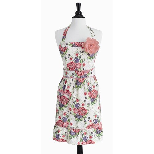 Violet Linen Autumn Rose Bib Courtney Apron