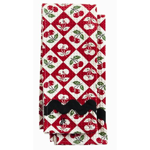 Diamond Cherries Waffle Towel Set