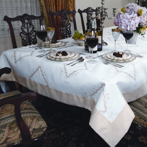 Violet Linen Dainty Embroidered Design Tablecloth