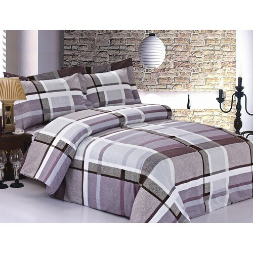 French Lavender Plaid Luxurious Duvet Set
