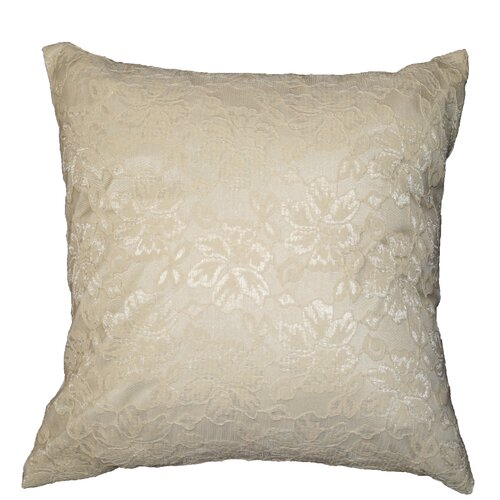 Violet Linen Chantilly Lace Decorative Throw Pillow