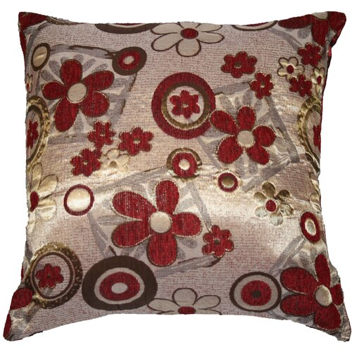 Violet Linen Victoria Chenille Jacquard Daisy Decorative Throw Pillow