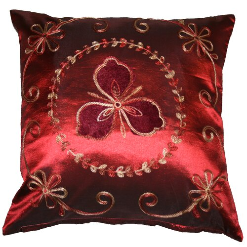 Silky Ornate Embroidered Velvet Floral Decorative Throw Pillow
