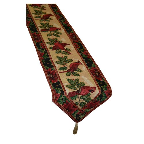 Violet Linen Seasonal Cardinal Design Table Runner