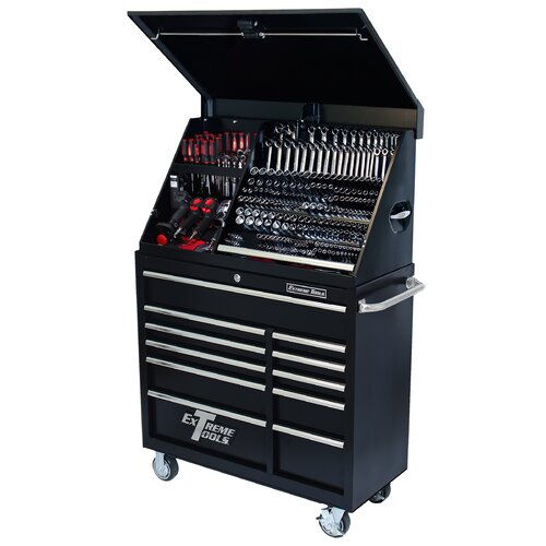 "Extreme Tools 41.5"" Wide 11 Drawer Portable Workstation and Roller Cabinet Combination"