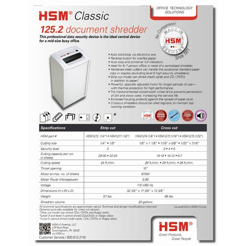 HSM of America,LLC Classic 108.2c, 12-14 sheets, cross-cut, 13 gal. capacity