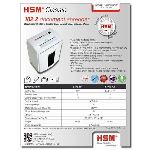 HSM of America,LLC 102.2, 16-18 sheet, strip-cut, 5.7 gal. capacity