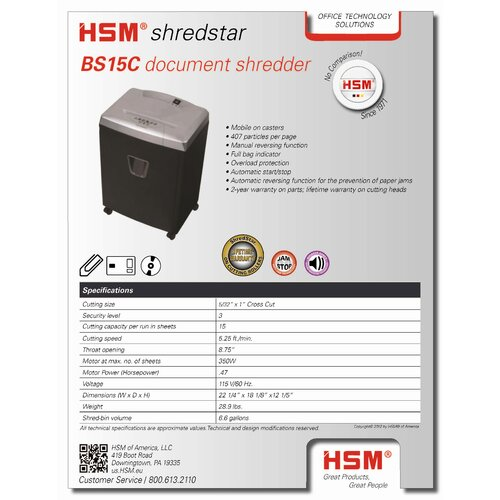 HSM of America,LLC Shredstar BS15C, 15 sheet, cross-cut, 7.1 gal. capacity
