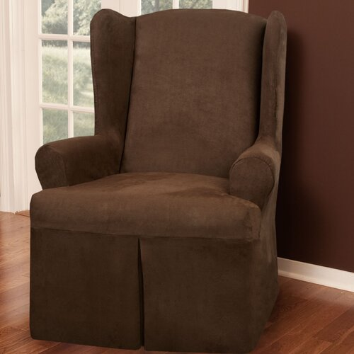 Maytex Faux Suede Wing Chair T-Cushion Slipcover