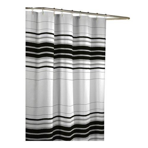 Maytex Racer Stripe Polyester Fabric Shower Curtain