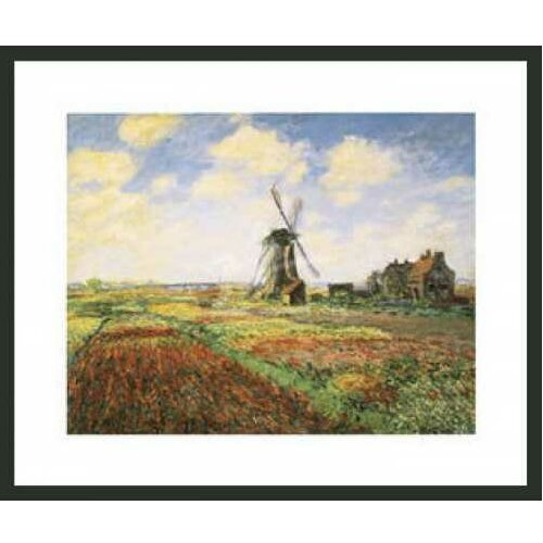 'Tulip Fields with Windmill' by Monet Framed Painting Print
