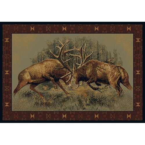 Buckwear Fight For Dominance Lodge Novelty Rug