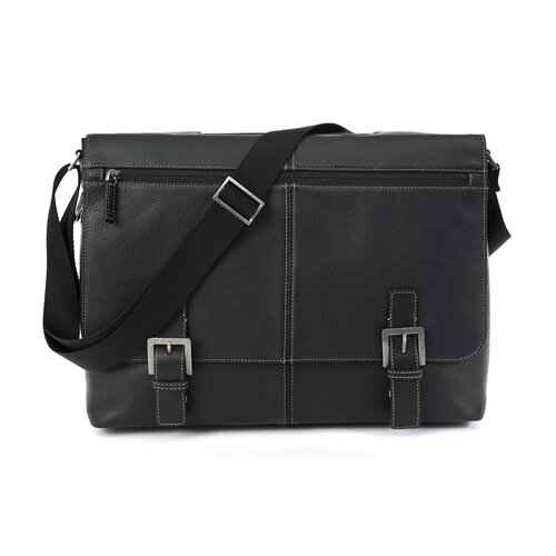 Boconi Tyler Tumbled Leather Laptop Briefcase