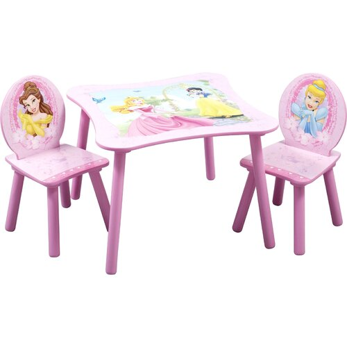 Disney Princess Kids' 3 Piece Table and Chair Set