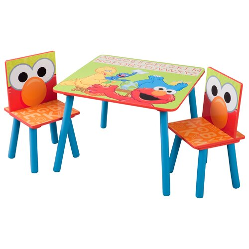 Delta Children Sesame Street Kids' 3 Piece Table and Chair Set