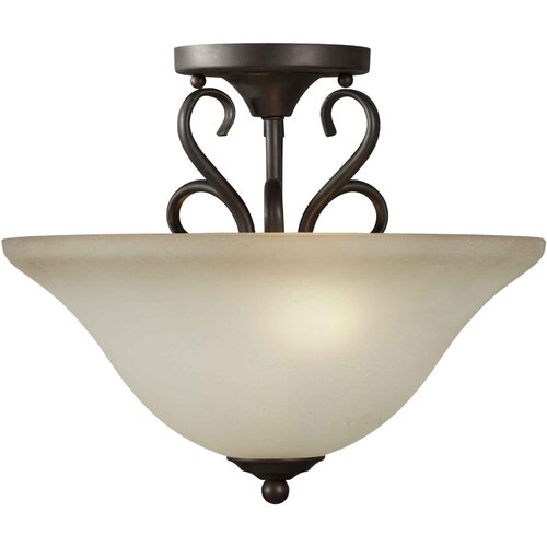 Forte Lighting 2 Light Semi Flush Mount - Umber Shade