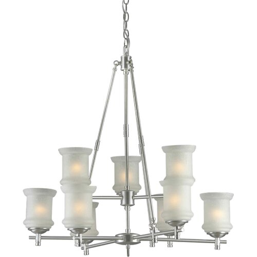 Forte Lighting 9 Light Chandelier with Linen Glass Shades