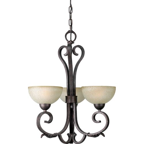 3 Light Chandelier with Umber Mist Shades
